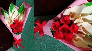 How To Make Flower Bouquet With Paper Rose And Calla Lily / DIY Paper Flower Bouquet/Easy Gift Idea
