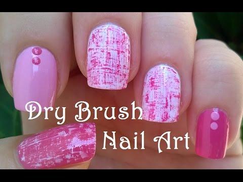 Pretty Dry Brush Nail Art In Pink White Youtube