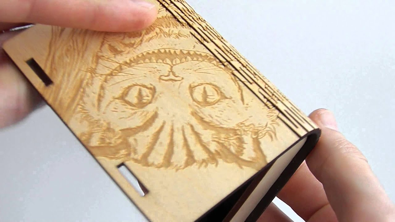 Business card holder laser cut plywood with engrave Cat - YouTube