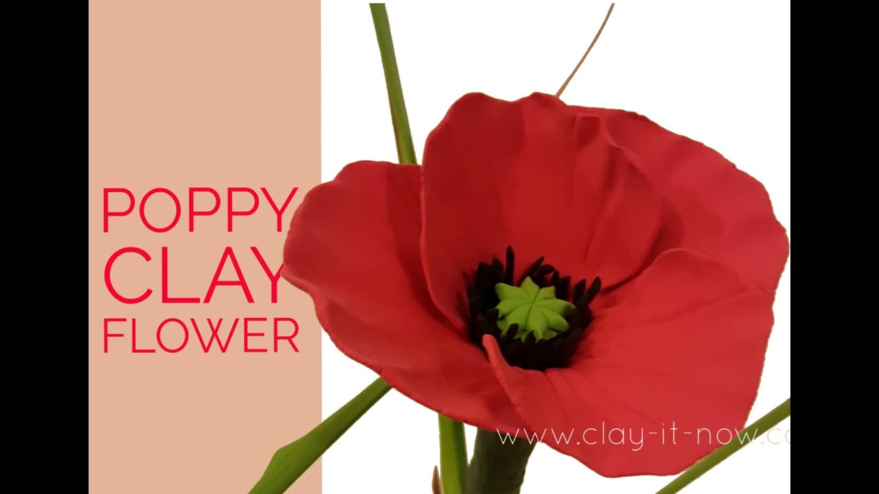 Easy clay poppy flower tutorial youtube easy clay poppy flower tutorial mightylinksfo