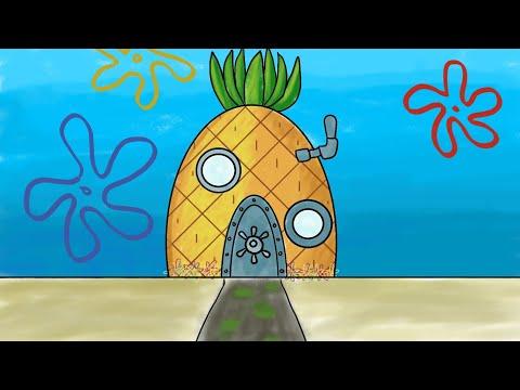menggambar-dan-mewarnai-rumah-spongebob-di-dasar-laut-digital-art