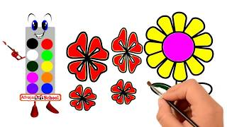 How to Draw Flowers for kids   Easy step by step drawing lessons