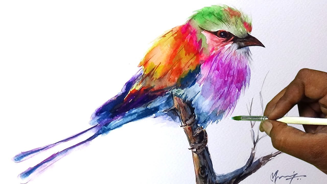 Bird Watercolor Painting Colorful Bird Watercolor Painting Tutorial For Beginners Simple Easy
