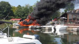 Peck's Marina boat on fire part 2