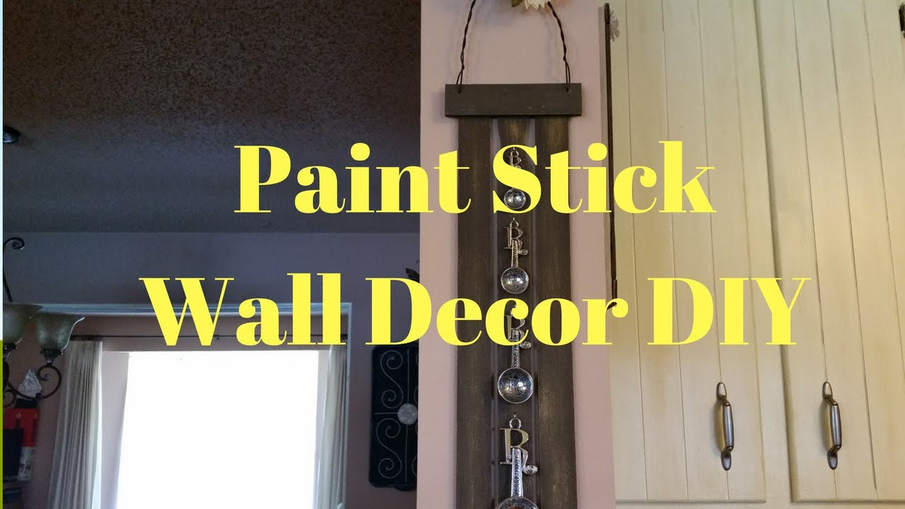 Paint Stick Wall Decor DIY - YouTube