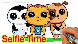 Selfie Time! - EASY How to Draw Penguin, Cat and Dog Friends taking a Group Selfie