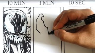 DRAWING VENOM in 10 Minutes, 1 Minute & 10 Seconds Art Challenge!