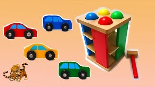 Learn Colors with  Car Vehicles and Pounding Table Playset for Kids | Learn with Toy Fun