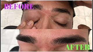EYEBROW THREADING STEP BY STEP FOR MEN || EYEBROW CLEAN UP ON MEN EYEBROW