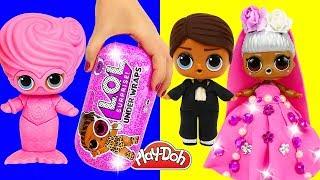 LOL Surprise Dolls Dress Up 👰🤵🏼 Play Doh New Wedding Dress for L.O.L. Doll Under Wraps Wave 2 DIY