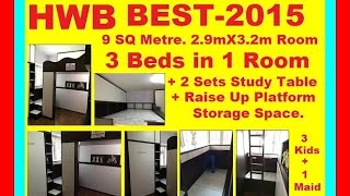 2015 Hwb Best. Loft Bed-s.single+2-single. 3-girls+a Maid In-1 Rm. 2-studytable.rivervalecondo
