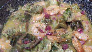 Recetas de cocina: ALCACHOFAS CON LANGOSTINOS muy facil y riquisimas