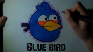 How to draw the Blue Bird from Angry Birds