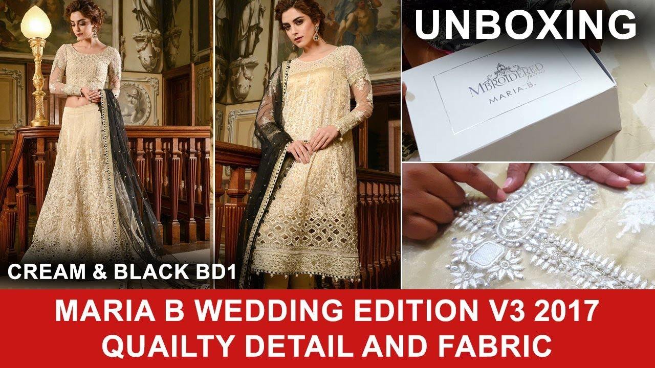 Maria B Mbroidered Unboxing Cream Black BD01 Wedding Edition Vol 3 ...