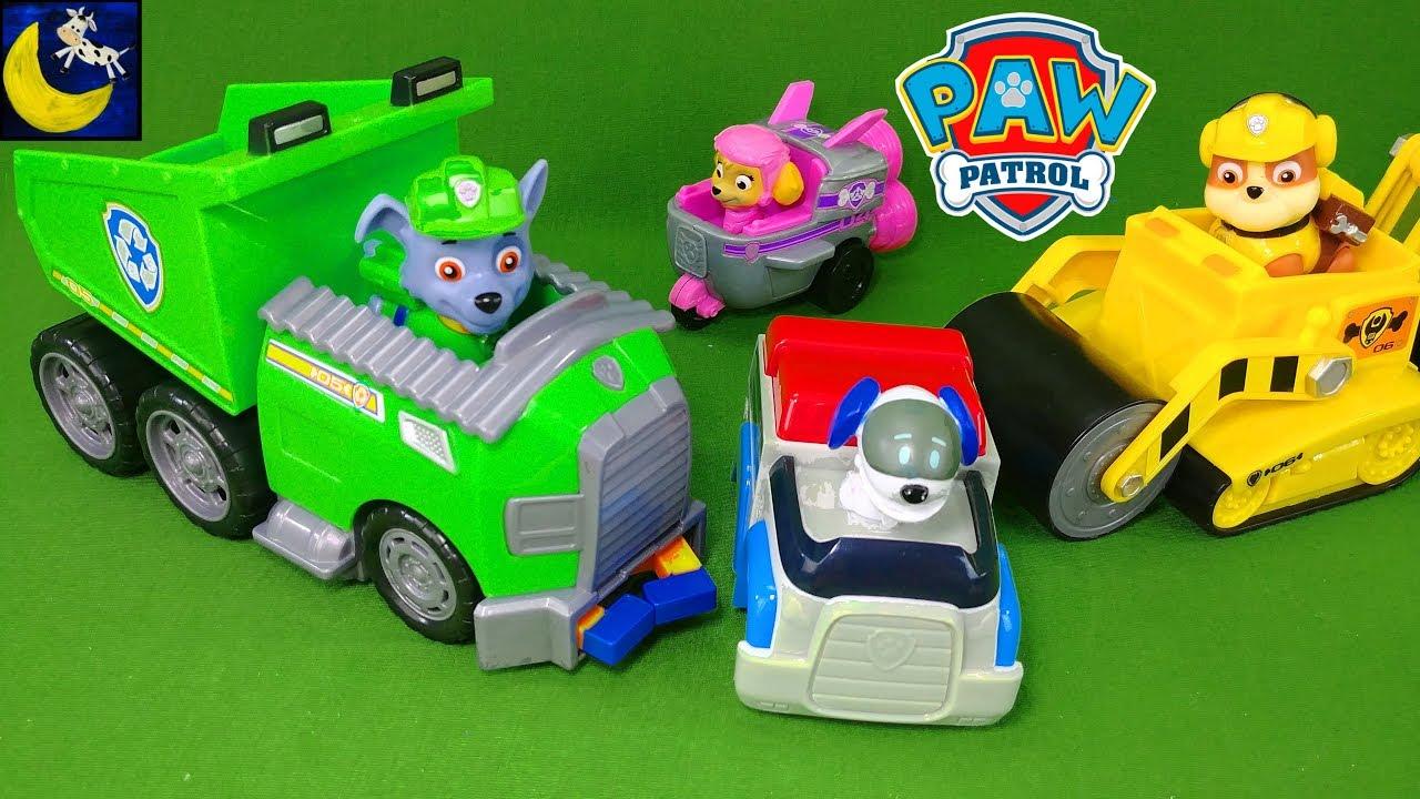 paw patrol toys rocky s recycle dump truck robo dog racer rubble