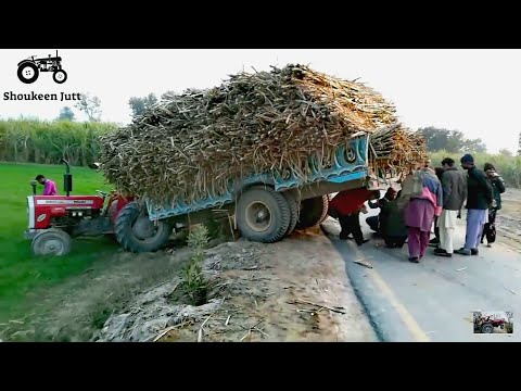 Tractor Accident | MF 260 Tractor Broke His Axle And Fell Into Ditch Rescue With Excevator Machine