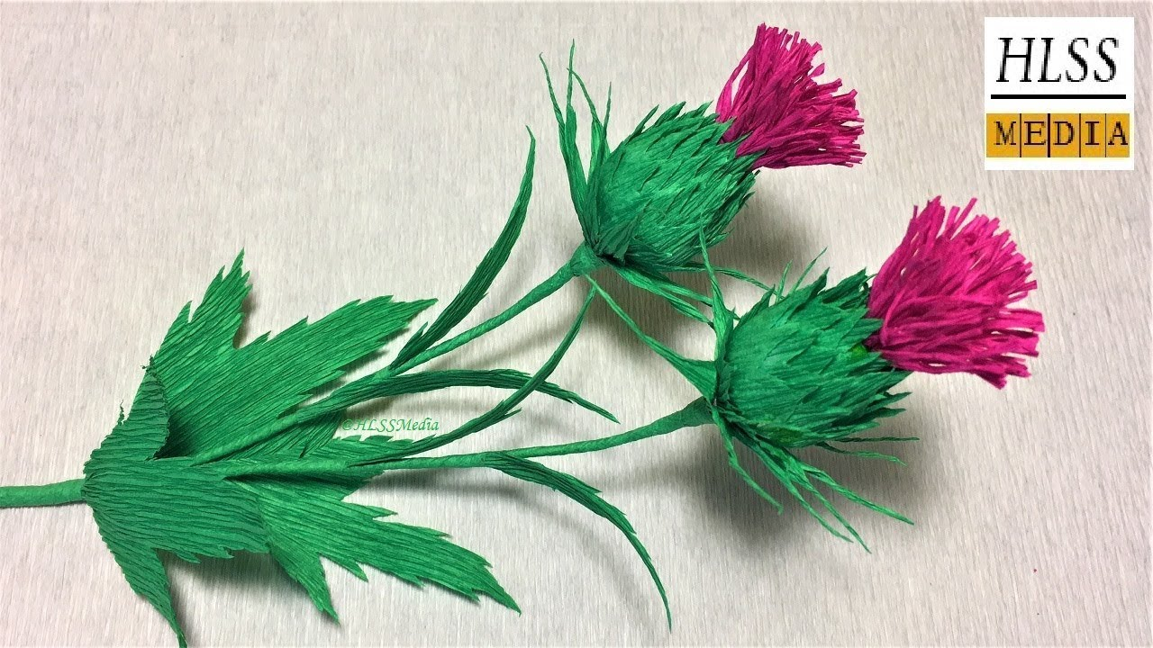 How to make thistle paper flower easy  thistle paper ...