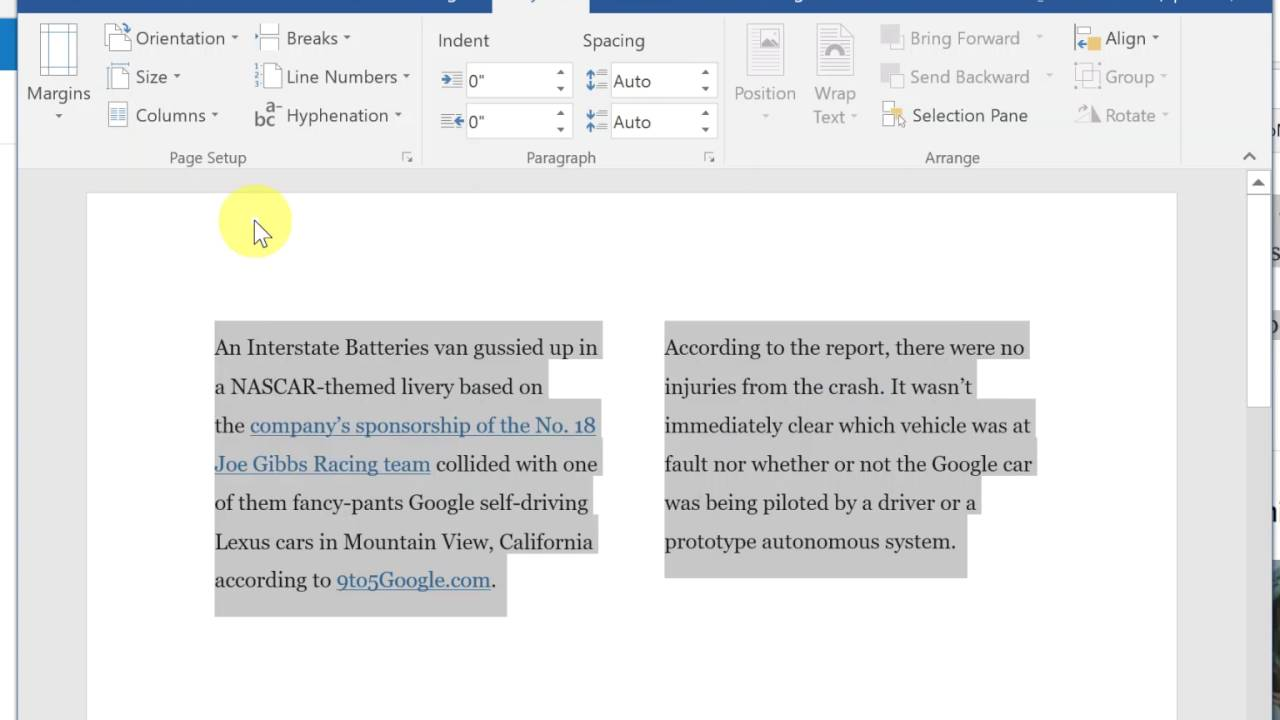 Validate Clear Signature Delete A Page In How To Split Text Into 2 Columns In  Word