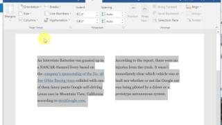 How to Split Text into 2 columns in Word