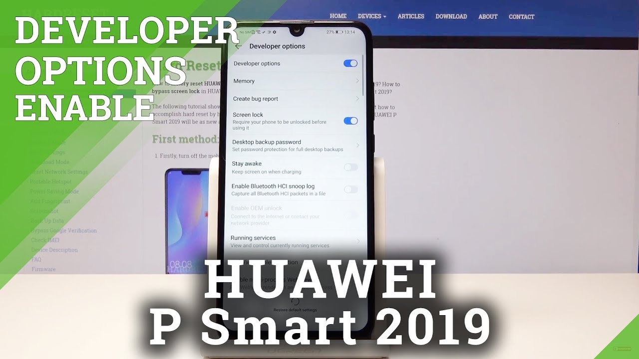 Developer Options in HUAWEI P Smart 2019 - OEM Unlocking / USB Debugging