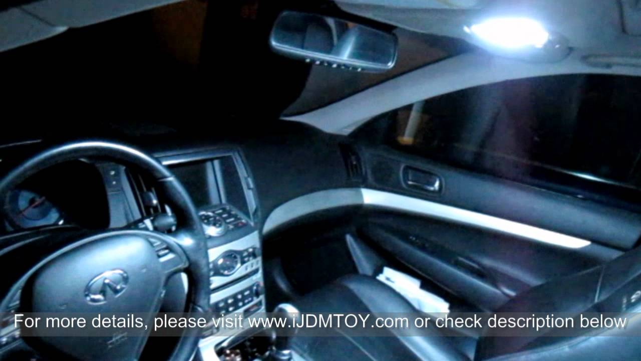 direct exact fit led panel lights interior package for 2007 2012 infiniti g37 youtube. Black Bedroom Furniture Sets. Home Design Ideas