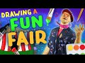 DRAWING AND COLOURING A FUN FAIR! 🎪🎡 ART FOR KIDS 🎨 DRAW MY WORLD!