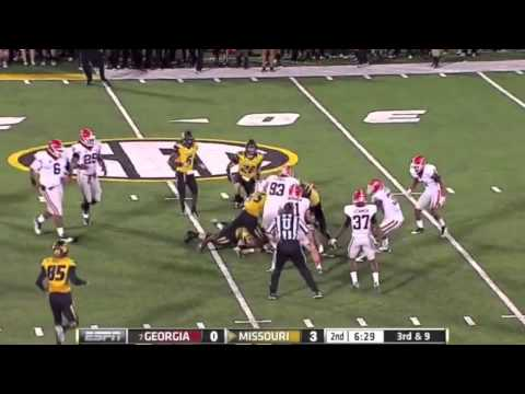 Jarvis Jones Putting the Pressure on James Franklin - UGA vs Mizzou 09-08-2012