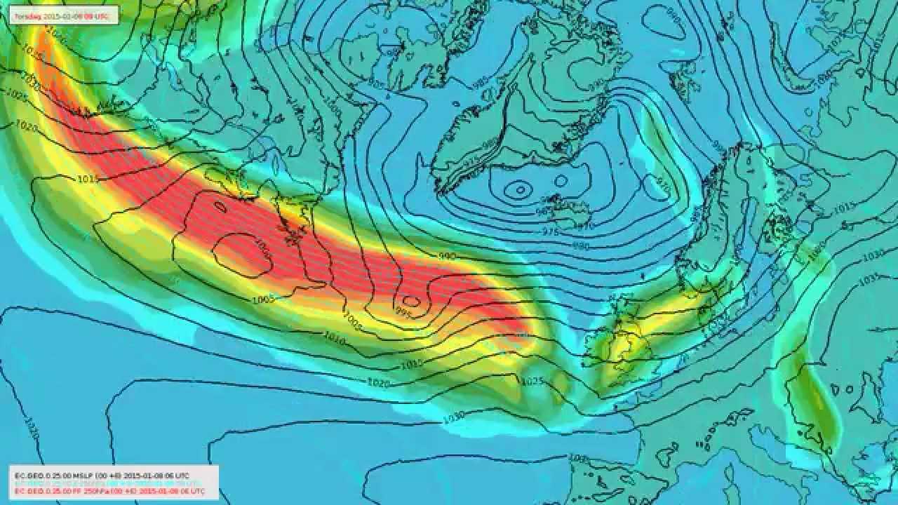 Stormsenter på vei mot Norge 9. og 10. januar 2014
