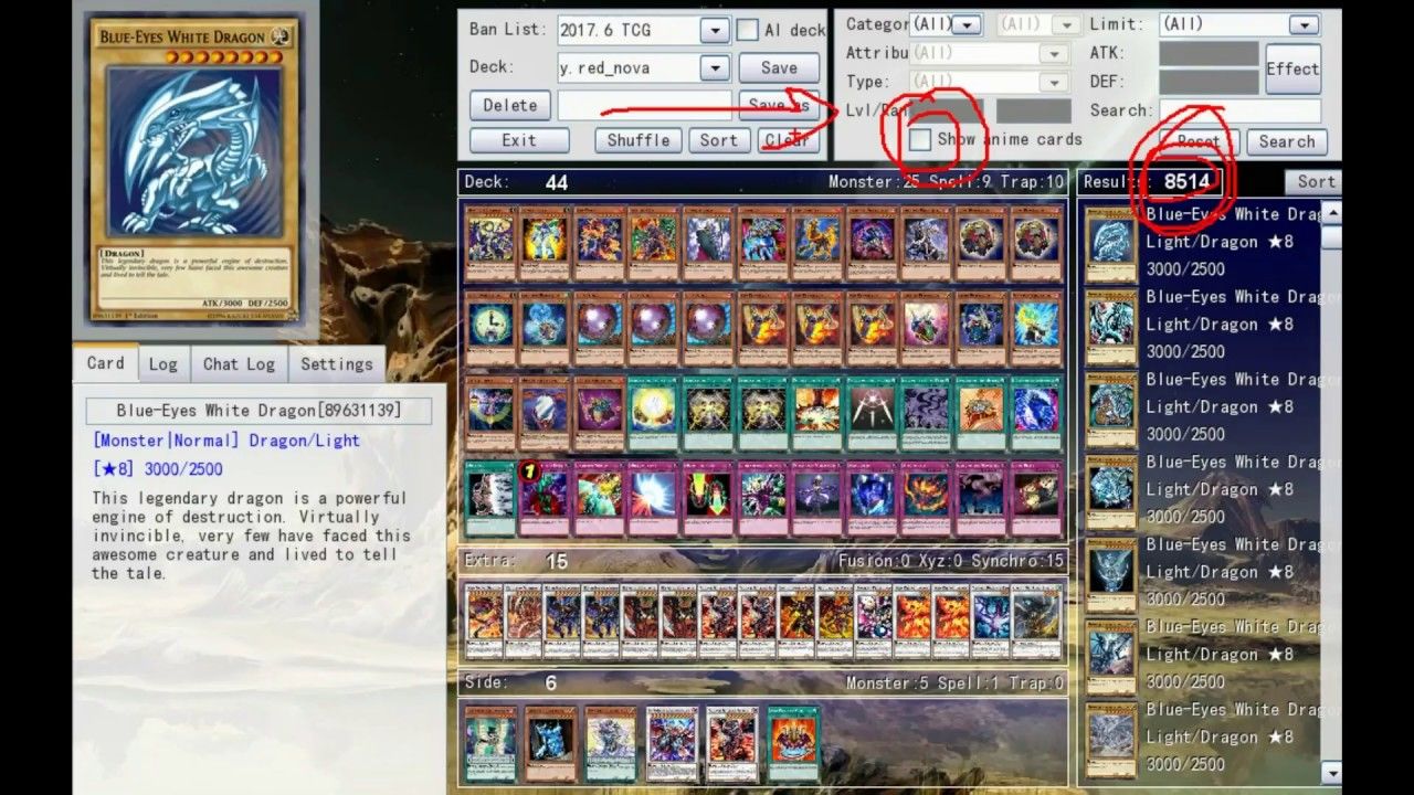 ygopro how to get anime cards + download