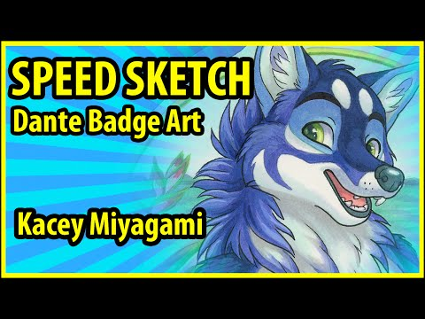 Furry Speed Draw Badge : Kacey Miyagami Speed Draws Badge Art of Dante  the Husky