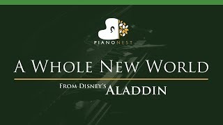 ZAYN, Zhavia Ward - A Whole New World (End Title) Aladdin - LOWER Key (Piano Karaoke / Sing Along)