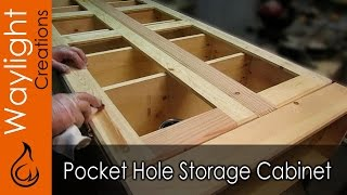 Any easy to make storage cabinet using pocket hole joinery. A simple weekend project. MORE details or PLANS for this project ...