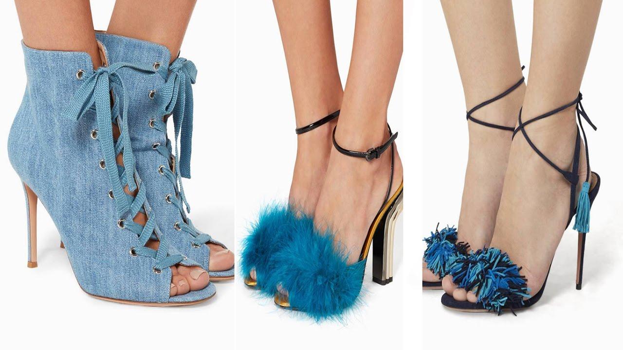352131aee صنادل و احذية بنات نسائية جينز ازرق ماركات فخمة - YouTube