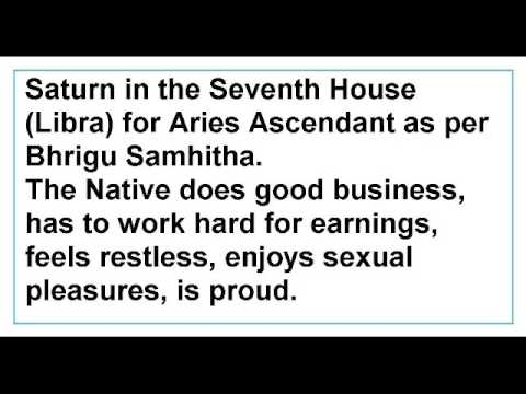 Saturn in the Seventh House for Aries Ascendant as per