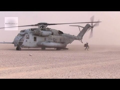 U.S. Marines CH-53 Super Stallion Helicopters Landing And Take-off