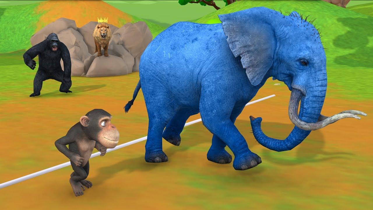 चतुर बंदर और पागल हाथी दौड़ Clever Monkey Elephant Running Race Hindi Kahaniya - 3d stories in Hindi