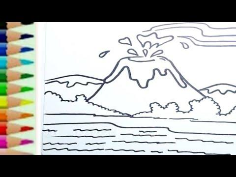 Belajar menggambar gunung krakatau meletus - YouTube
