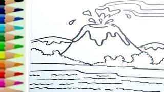 Belajar Menggambar Gunung Krakatau Meletus Edukasi Anak Youtube