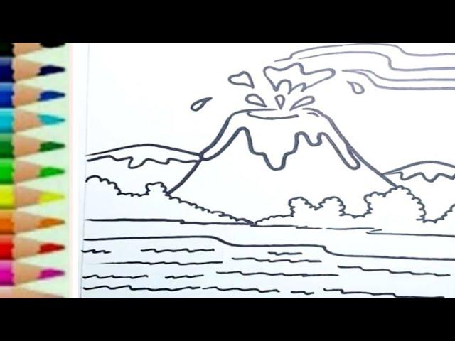 Mewarnai Gambar Gunung Meletus Wwwpicswecom