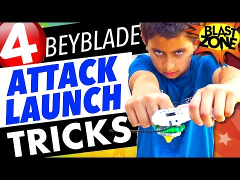 4 Beyblade Burst Attack Launch Tricks and Xcalius Unboxing!  How to win at Beyblades!
