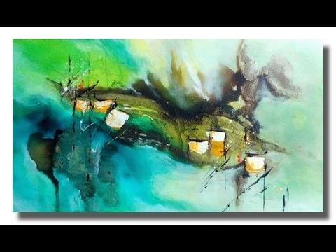 Abstrakte Acrylmalerei: Acryl, Tuschen und Kaffeesatz