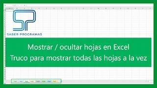 Excel | Mostrar y ocultar hojas en Excel + TRUCO mostrar todas. Tutorial en español HD