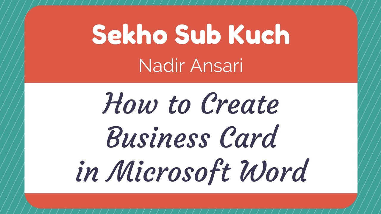 Word Tutorial : How to Create Business Card in Microsoft Word [Urdu ...