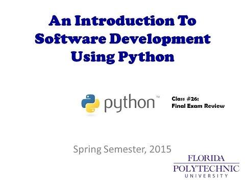 COP2271C - Class #27 - Final Review - Python