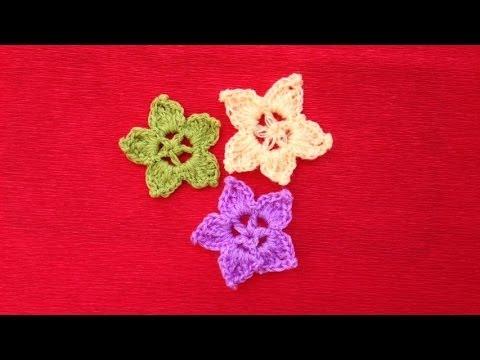 Hướng dẫn móc hoa len - Mẫu hoa lan 5 cánh (Subtitles English)