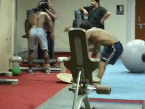 Yogeshwar Dutt and Amit Kumar training hard for the London Olympics