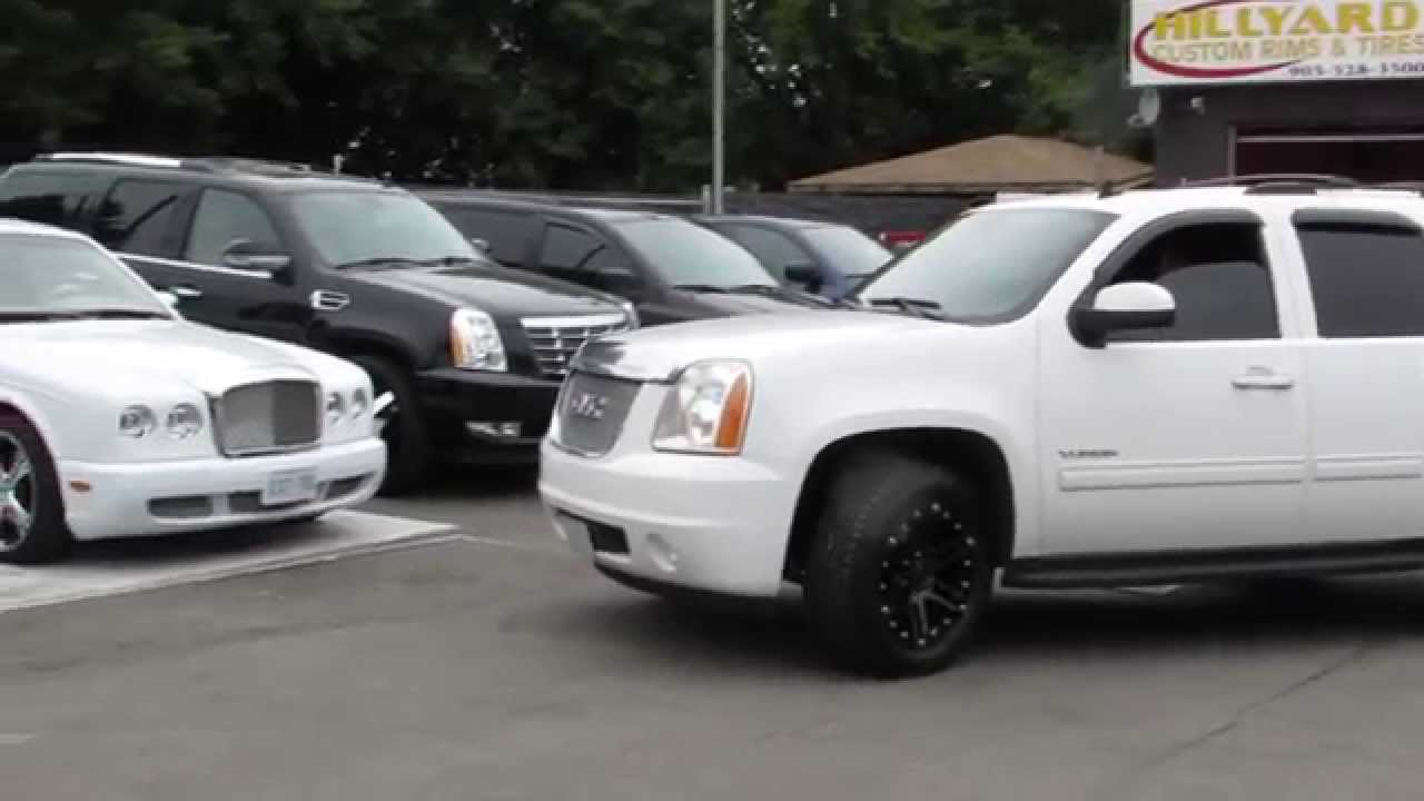 Gmc Yukon Xl Denali >> 2012 GMC YUKON WHITE ON 20 INCH BLACK RIMS TIRES WITH DICK ...