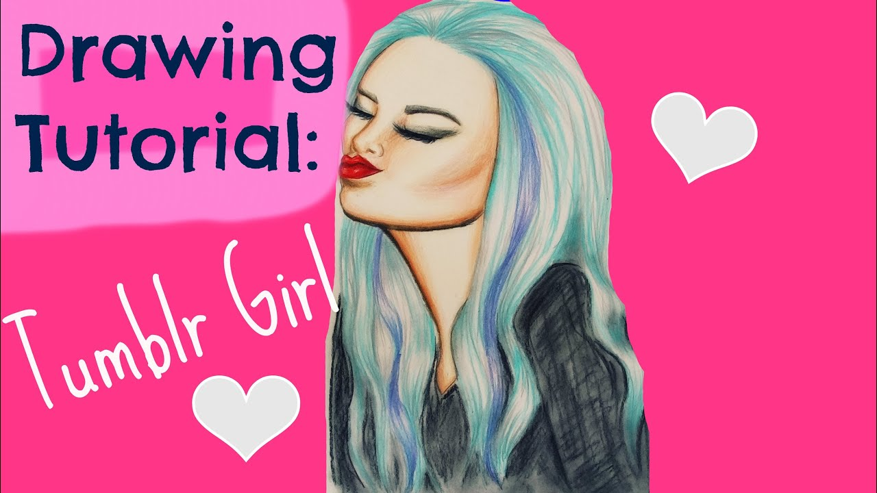 Line Drawing Tumblr Tutorial : Drawing tutorial tumblr girl youtube