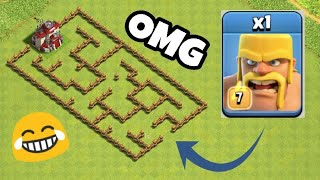 Can Barbarian Solve This Maze ??? Clash Of Clans Private Server | Clash Of Clans | COC Glitch |