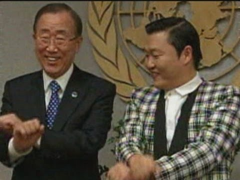 Psy and UN chief Ban Ki-moon do Gangnam Style dance at UN